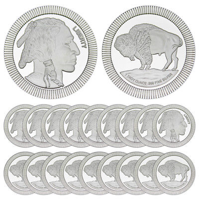 1 oz Buffalo Stackable Silver Round (New, Lot of 20, Tube)