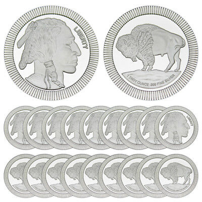 1 oz SilverTowne Buffalo Stackable Silver Round (New, Lot of 20, Tube)
