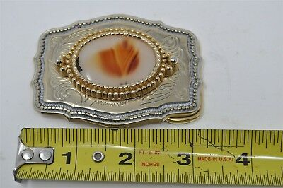 Vintage Stone Mineral Gold and Silver Tone Belt Buckle