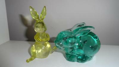 Vintage 2 lot bunny rabbits glass green paperweight yellow acrylic figurines