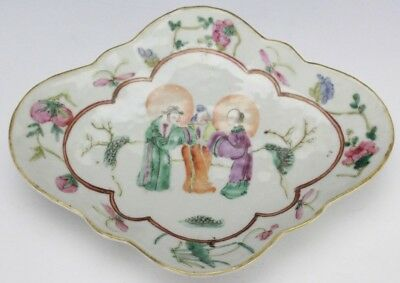 Antique Chinese Export Famile Rose Figural Lobed Shape Porcelain Dish Tray SLG