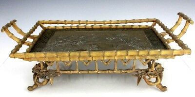 Antique Victorian Era Japanese Aesthetic Floral Bamboo Dore Bronze Tray NR RWP