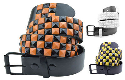Leather Studded Belt Mens Womens Pyramid Studs Fashion Belts By