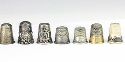 Lot of 7 Vintage Unusual Ornate Sterling Silver Sewing Implement Thimbles NR SLG