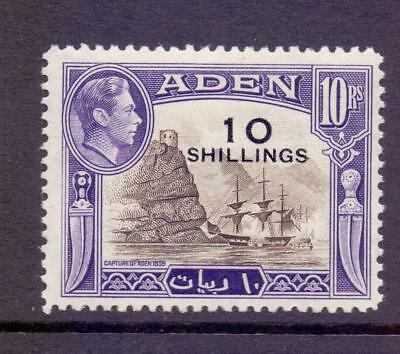 ADEN 1951 KGVI SG46 10s on 10r Sepia and Violet Fine MINT Hinged Cat £42