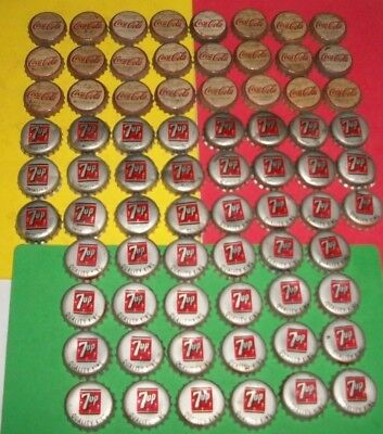 (72) Assorted Used Coca-Cola/7-UP King/7-UP 7oz Cork Lined Soda Bottle Caps A
