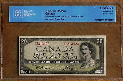 Scarce 1954 $20 Devil's Face Bank of Canada Note Certified UNC-60 Uncirculated