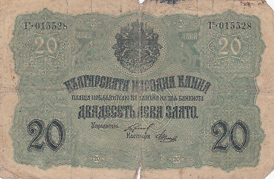 20 Gold Leva Vg Banknote From German Occupied Bulgaria 1916!pick-18