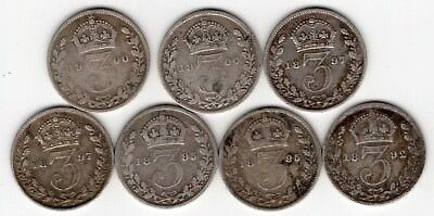 Lot Of 7 Great Britain Victoria Three 3 Pence Sterling Silver Coins