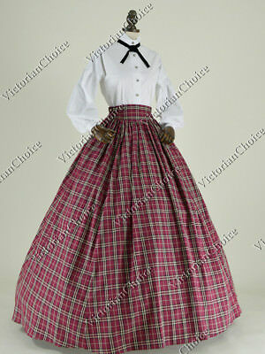 Victorian Country Maiden Plaid Old West Puff Sleeve Dress Theater Gown N 314 XXL