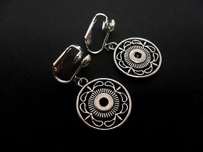 A Pair Of  Tibetan Silver Circular Clip On Dangly  Earrings. New.