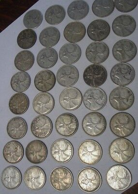 Canadian Silver Quarters 40 Count Full Roll $10.00 Estate Find 1938-1966