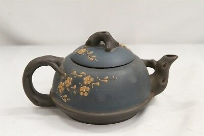 Chinese Yixing Blue Blossoms Branches Handled Spout Pottery Teapot Signed