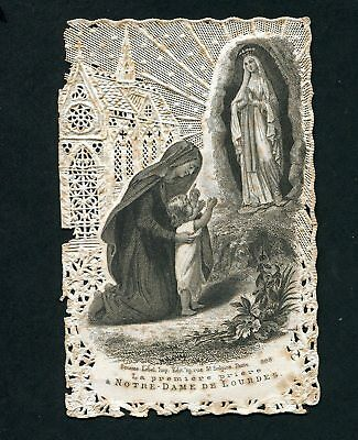 Original Old print Lace HOLY CARD w/child pray OUR LADY of LOURDES France 1890s