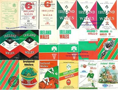 IRELAND v WALES RUGBY PROGRAMMES 1950 - 1988 GOOD + CONDITION FIVE NATIONS