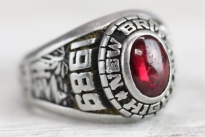 1989 New Britain High School Class Ring Red Stone  Akr Sz (6) N1976