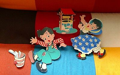 Vintage Dolly Toy Co Jack and Jill Wall Nursery Hang Ups 4 pc Mother Goose FShip