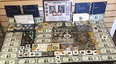 Lot of Vintage Collectibles: SILVER MORGAN & PEACE DOLLARS, Coins, Jewelry +MORE