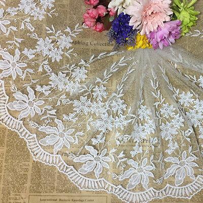 1 Yard Lace Trim Embroidered Tulle Edge Mesh Net Wedding Sewing Crafts DIY