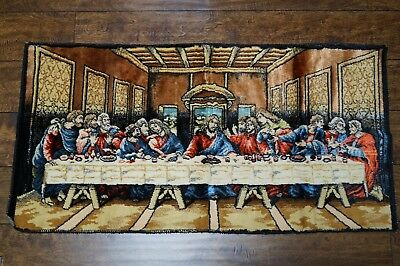 Vtg The Last Supper 38 X 19 Wall Hanging Tapestry Throw Rug Apostles