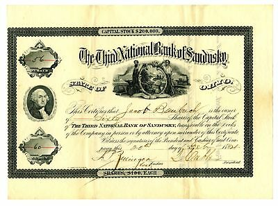 Third National Bank of Sandusky, 1821 Issued Stock Certificate