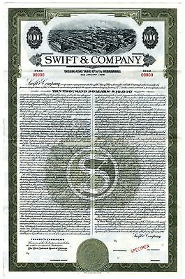 IL. Swift & Co., 1947 $10,000 Specimen 2 5/8% Debenture Bond, VF-XF ABNC