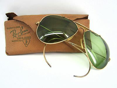 aa87cfb6c9 Vintage 1940 s Ray Ban Bausch Lomb Gold Filled Aviator Sun Glasses   Case