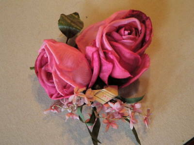 "Vtg Millinery Flower Collection 1-3 1/2"" Shabby Pink Cabbage Rose Czech H1958"