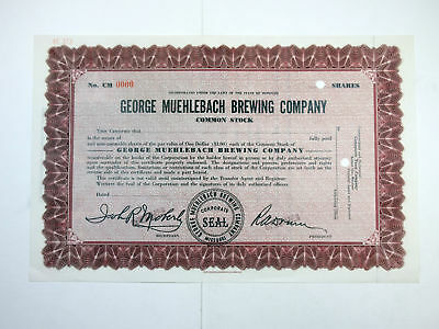 George Muehlebach Brewing Co., ca.1930a Specimen Stock Certificate post Prohibit