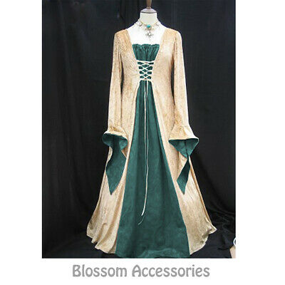 I73 Green Gold Gown Game Thrones Renaissance Medieval Queen Fancy Dress Costume