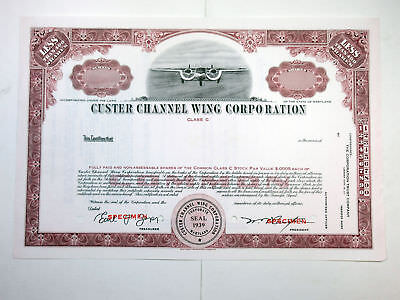 Custer Channel Wing Corp., ca.1950-1960 Specimen Stock Certificate SBN