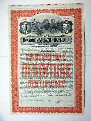 New York, New Haven & Hartford Railroad Co., 1906 $500 Specimen 3 1/2% Bond Fine
