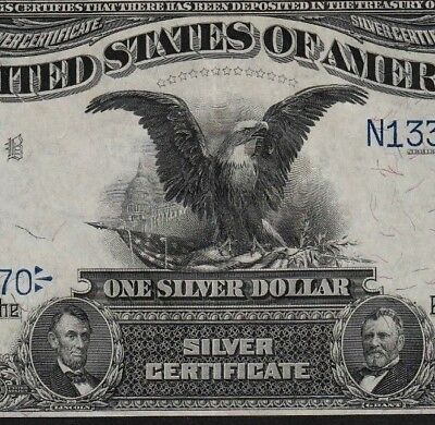 Stunning Embossing $1 Black Eagle Silver Certificate 1899 Almost Uncirculated