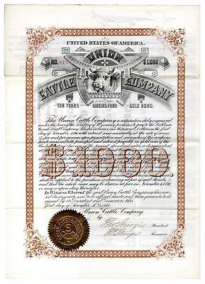WY. Union Cattle Co., 1886 $1,000 I/U Sinking Fund Gold Bond, Fine-VF