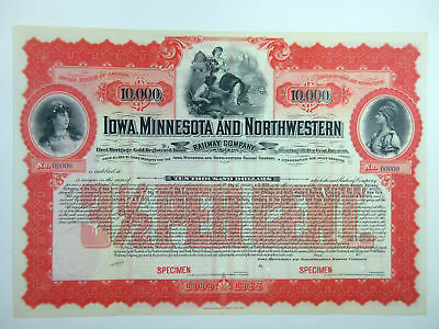 Iowa Minnesota & Northwestern Railway Co 1909 SPECIMEN $10000 Gold Bond ABNC