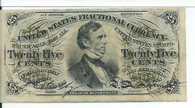3rd Issue 25 Cents United States Fractional Currency FR1295 CU Green reverse
