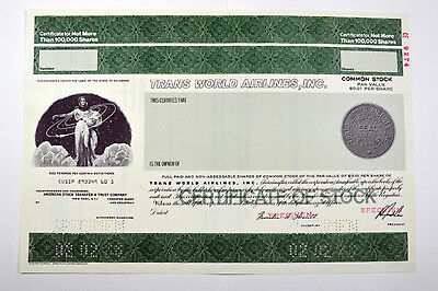 Trans World Airlines, Inc., 1988 Specimen Stock Certificate
