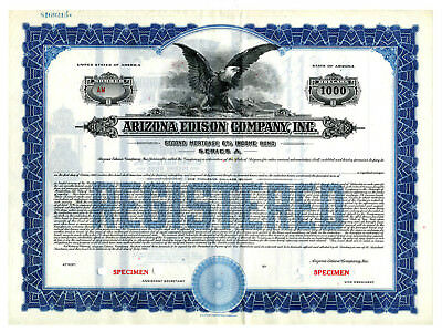 Arizona Edison Co., Inc., 1935 Specimen Bond XF SBN