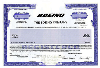 Boeing Co., 1991 Specimen $-Odd Registered Bond XF Aviation