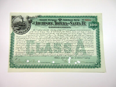 Atchison, Topeka & Santa Fe Railroad Co 1892 I/C $100 Mortgage Bond FBNC XF POC