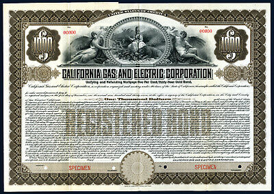 California Gas and Electric Corp,1907 Specimen $1000 Registered 5% Bond XF ABN