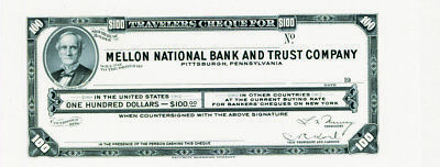 Mellon National Bank & Trust Travelers PROOF $100 Cheque ca.1950s-1960s XF+ SBNC