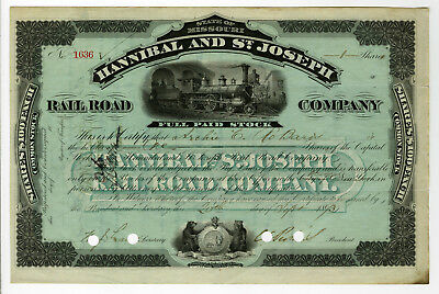 Hannibal and St. Joseph Rail Road Co., 1893 I/C Stock Certificate 1 Share VF NBN