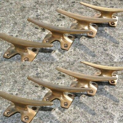 8 small CLEAT tie down heavy brass boats cars tieing rope hooks cast cleats By