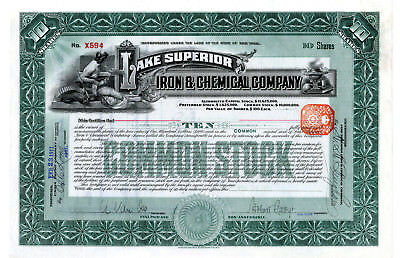 Lake Superior Iron & Chemical Co., 1911 Issued Stock Certificate