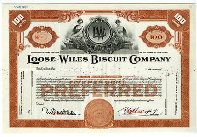 NY. Loose-Wiles Biscuit Co., ca.1960-1970 Specimen Stock Certificate 100 shrs XF