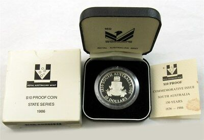 """1986 """"State Series"""" South Australia Jubilee $10 Silver Proof Coin - RAM OGP"""