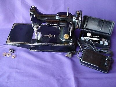 Singer Featherweight Sewing Machine 1948 Model 221 W/ Case, Buttonholer, Working