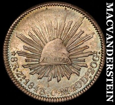MEXICO (1ST REPUBLIC): 1843-Zs,OM EIGHT REALES- SCARCE !! HIGH GRADE !! #H4918