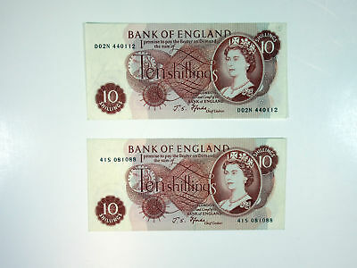 Bank of England 10 Shillings P-373c (2 pcs, VF to Ch.VF)